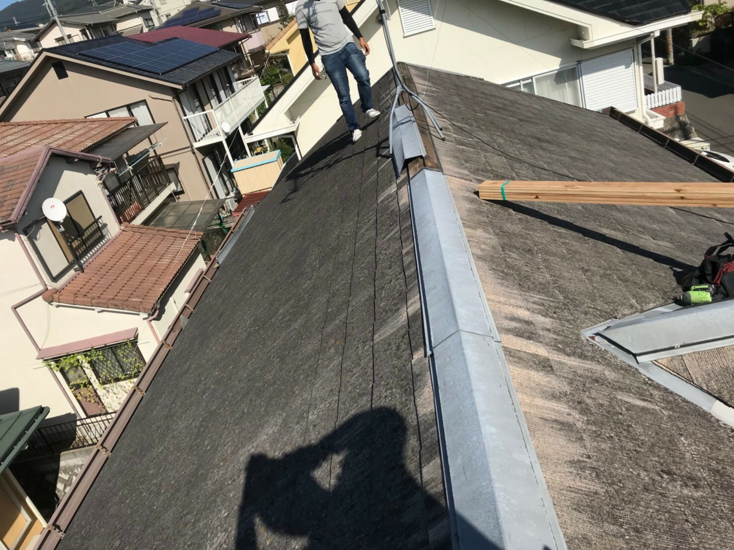 池田市伏尾台 台風の影響で…棟補修工事