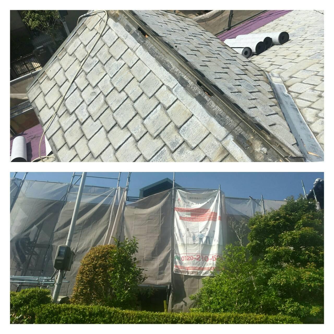 池田市伏尾台 雨漏れ発生!メンテナンスを兼ねた屋根外壁工事